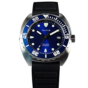 Pantor Sealion 300m Pro Diver Automatic Watch with Helium Valve Blue Dial Sapphire Stainless Steel Rotating