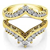 TwoBirch Yellow Plated Sterling Silver Filigree Vintage Wedding Ring Guard with Cubic Zirconia (0.98 ct. tw.)