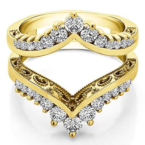 (TwoBirch 0.98 ct. Cubic Zirconia Filigree Vintage Wedding Ring Guard in Yellow Plated Sterling Silver (0.98 ct.)