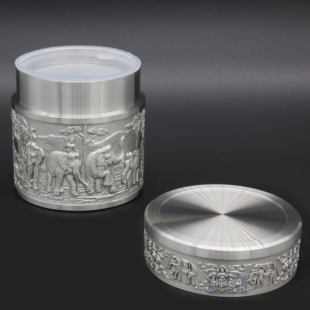 Oriental Pewter - Pewter Tea Storage, Caddy -TPCS- Hand Carved Beautiful Embossed Pure Tin 97% Lead-Free Pewter Handmade in Thailand by Oriental Pewter (Image #7)