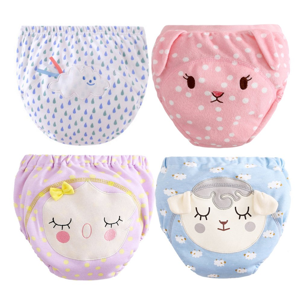 BOBORA 4 Pack Baby Girl Boy Cotton Reusable Potty Training Pants Toddler PP Bloomers 0-3Years BO-UK389-EN0489BM