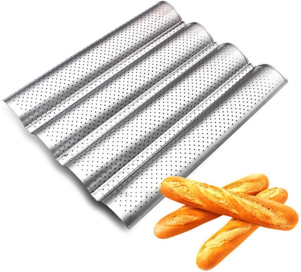 BESTEU Plateau /à baguette perfor/é antiadh/ésif pour pain fran/çais Plateau de cuisson pour pain de 4 vagues