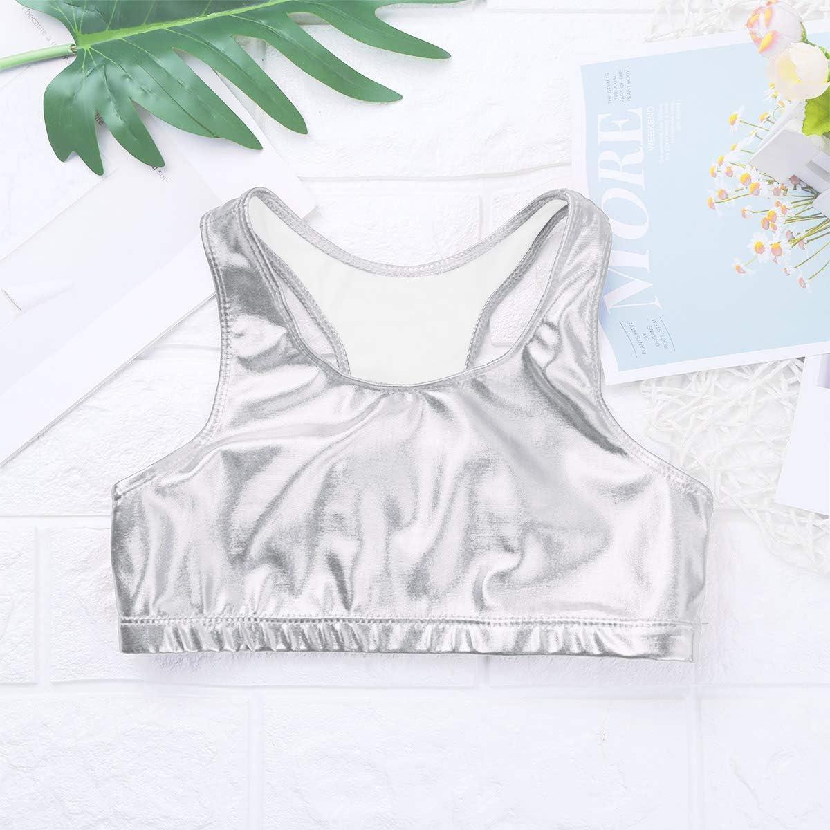 YiZYiF Enfant Fille Gilet Cuir Verni Haut de Danse Ballet Gymnastique Court T-Shirt Performance Brillant Veste de Sport Yoga Patinage Top sans Manche D/ébardeur 5-12 Ans