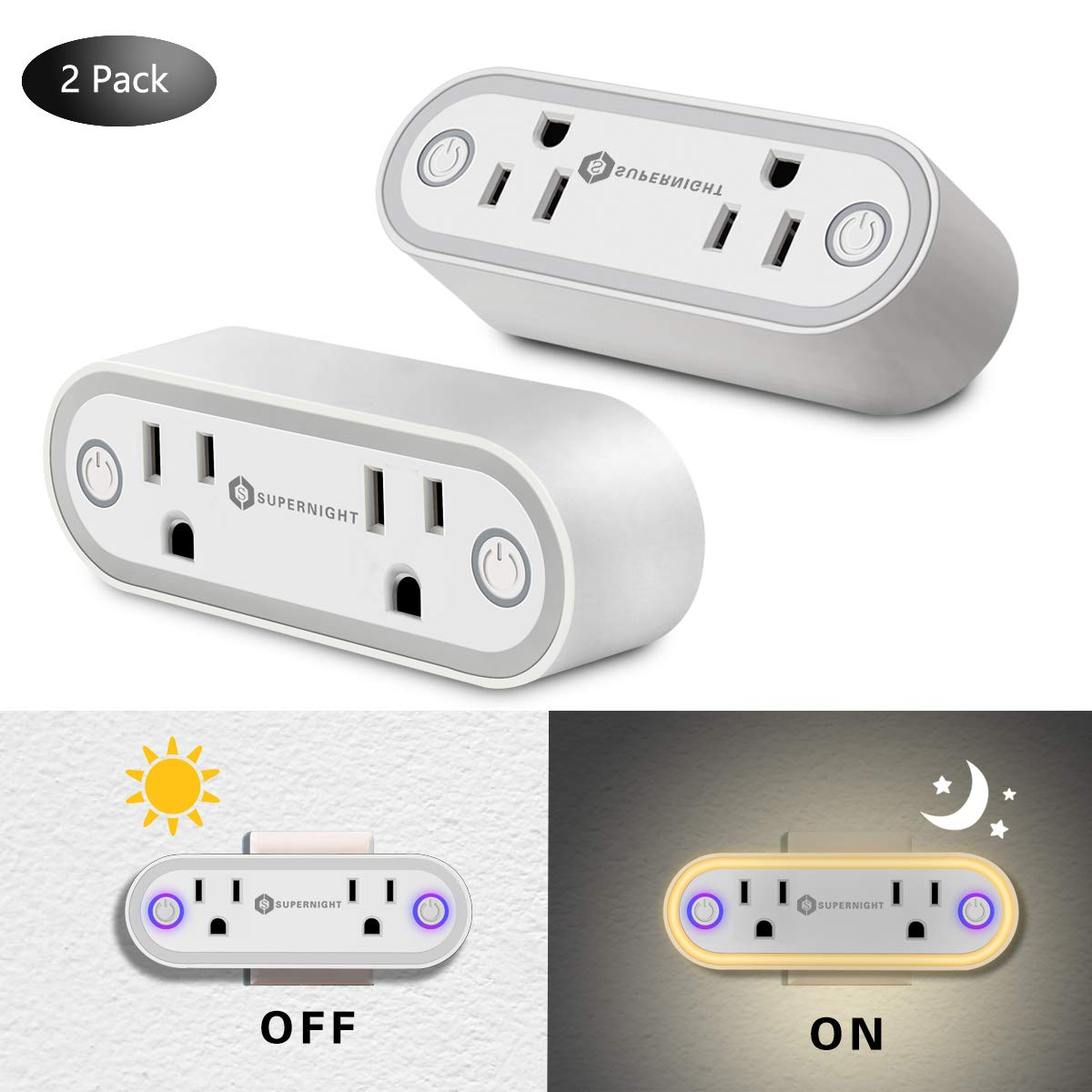 Wifi Smart Plug Outlet, SUPERNIGHT 2.4GHz Wi-Fi Mini Socket with Dusk to Dawn Sensor Night Light, Works with Amazon Alexa,Google Home, Upgraded App and Voice Control, No Hub Required (2 Packs)
