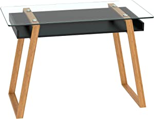 bonVIVO Writing Desk Massimo - Home Office Desk of Glass and Bamboo Wood, Black Computer Desk with Bamboo Legs and White Glazed Shelf, Usable As Black Office Desk or Glass Desk for Home Office