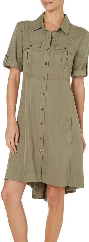 Beige Womens Utility High-Low Shirtdress Small Green