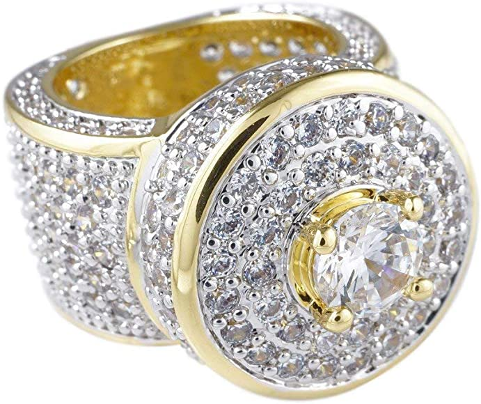 bcd5d335f9d6f 18K Yellow Gold-Plated Cubic Zirconia Hip Hop Cluster Ring