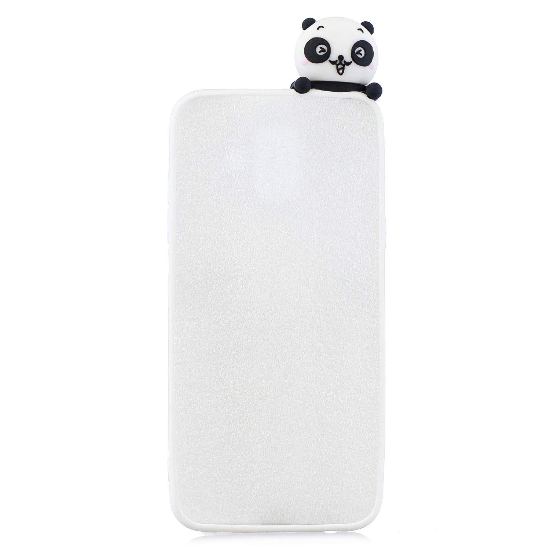 SEEYA pour Samsung Galaxy J6 2018 Silicone Mignonne Coque en Caoutchouc Flexible Housse de Protection Ultra Fine Souple TPU Gel Doux Fun Mignon Breloques Panda Etui T/él/éphone Portable Jaune