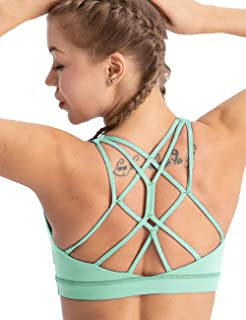 PIYOGA Dressy Sports Bra X-Cross Strap Racerback for Yoga Casual Wear Beach