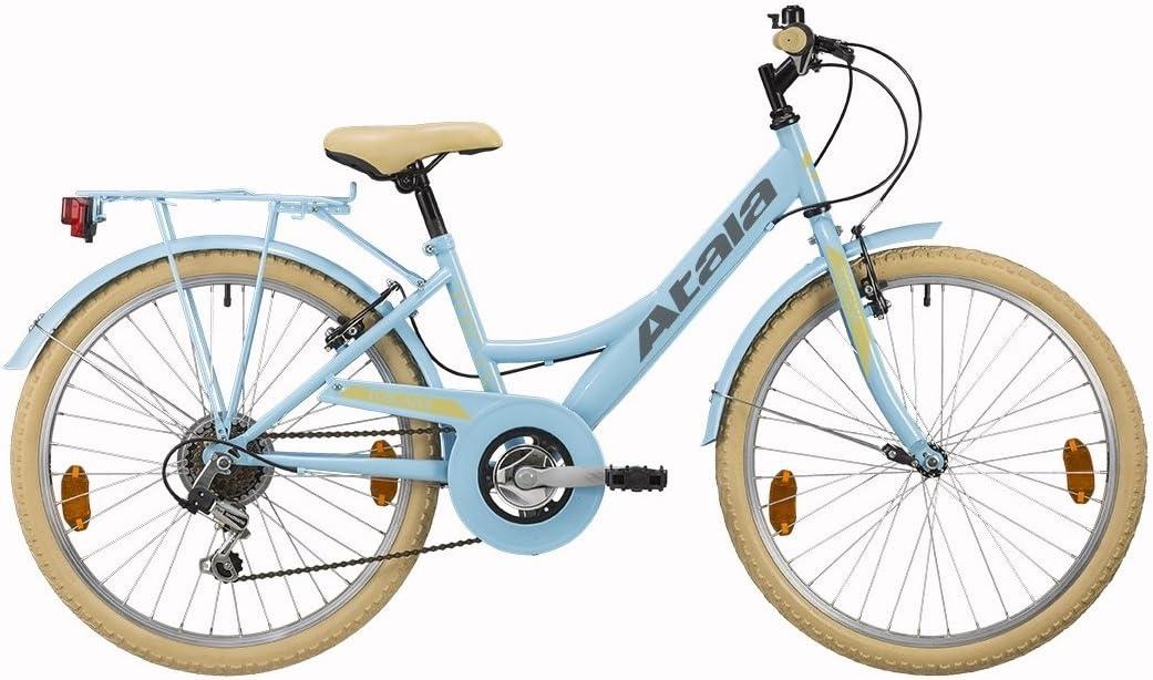 Bicicleta de niña Atala Toscana, 6 velocidades, color azul claro crema, tamaño 24 pulgadas: Amazon.es: Deportes y aire libre