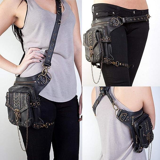 Techecho Hip Belt Bags Steampunk VTG Multi-Functional Drop Leg Waist Bag Pack Hip Belt Fanny Messenger Bag Men /& Women Slim