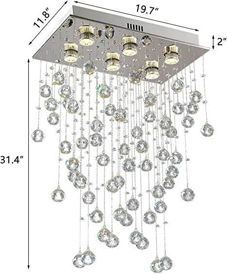 6-Lights Modern Raindrop Chandelier Dining Table Ceiling Light Fixtures Pendant Hallway Kitchen Island Bedroom Lighting Rectangular