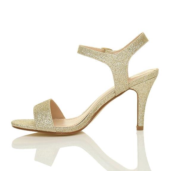 Damen Hoch Absatz Party Abend Hochzeit Fesselriemen Riemchensandalen Schuhe  Größe  Amazon.de  Schuhe   Handtaschen 90f9c61505