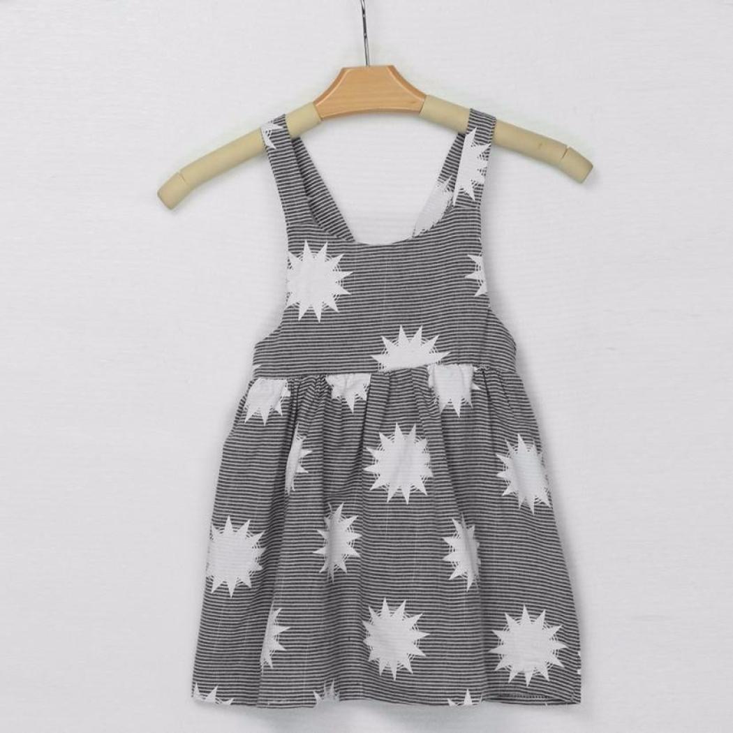 Sunward Toddler Baby Girls Dress Stripe Halter Lace Tutu Beach Dresses Backless