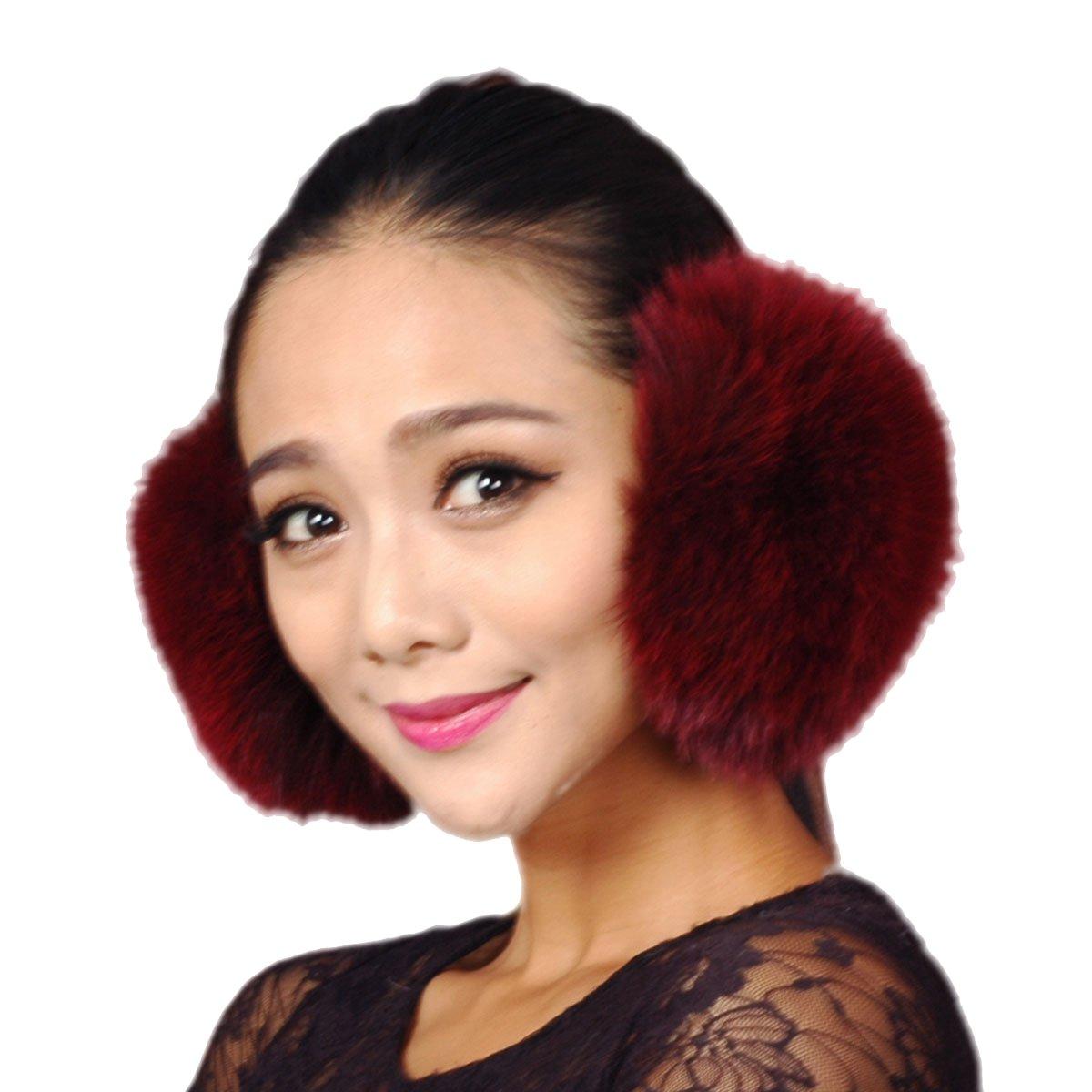 URSFUR Fox Fur Empress Earmuffs Multicolors (Burgundy)