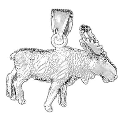 Amazon 14k white gold 3d moose pendant 24 mm jewelry 14k white gold 3d moose pendant 24 mm aloadofball Images