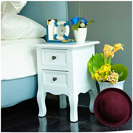 Panana, comodino bianco con cassetti per camera da letto, Stile A ...