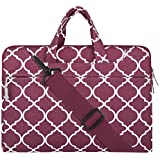 Mosiso Laptop Shoulder Bag / Briefcase, Quatrefoil Style Canvas Fabric Carry Case Bag for 12.9 iPad Pro / 13.3 Inch Notebook / MacBook Air & Pro, Wine Red