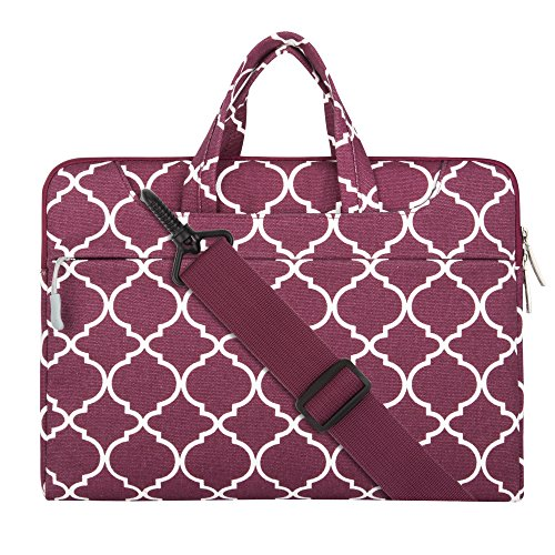 MOSISO Laptop Shoulder Bag Compatible 13-13.3 Inch MacBook Pro, MacBook Air, Notebook Computer, Quatrefoil Canvas Protective Briefcase Carrying Handbag Sleeve Case Cover, Wine Red