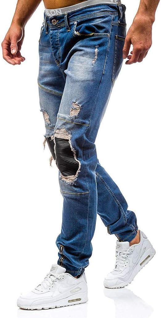 OPPUKI メンズスキニージーンズメンズジーンズリッピングソリッドスリムプラスサイズ ズボンJEM011