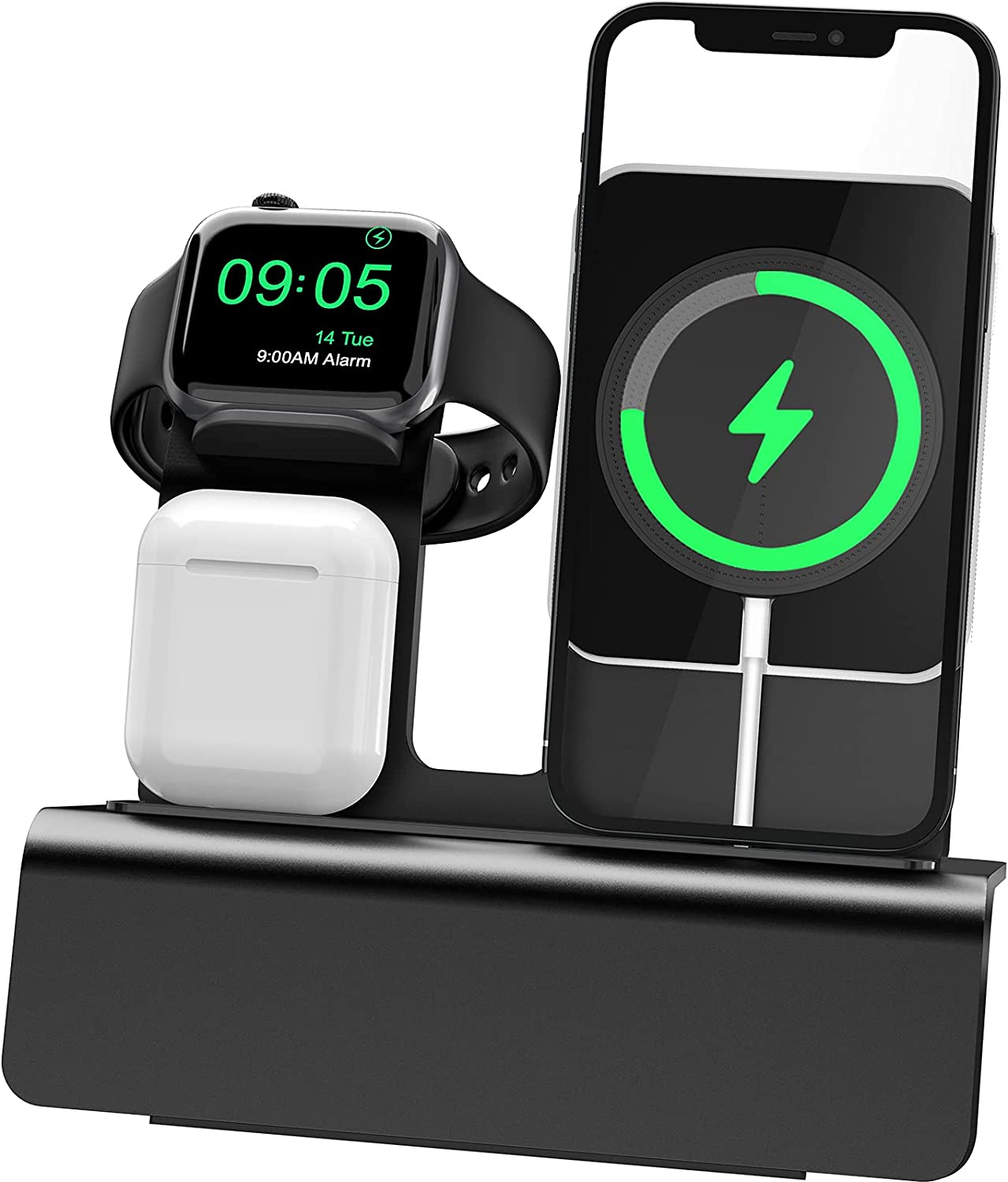 Yestan Wireless Charger Compatible with Magsafe Charger, iPhone 12 Pro Max 11 XS X XR 8 Plus, Apple Watch Series 6 5 4 3, Charging Station for Apple Products, (NO Magnet, NO PD Adapter) - Black