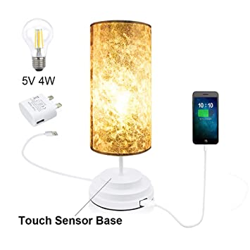 Touch Sensor Control Table Lamp Modern USB Charging Dimmable Warm White Decorative Night Light Touch Sensor Lamp Bedside Nightstand Desk Lamps for Bedrooms Living Room Kids