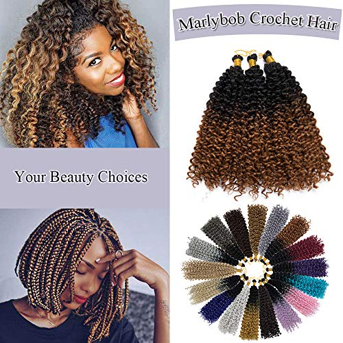 - Marlybob Crochet Braids Hair Extensions Synthetic Deep Water Wave Marlibob Hairpiece Afro Jerry Curl Kinky Curly Twist Braiding Weave Hair For Black Women (14'',Black to Light Brown)