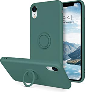 BENTOBEN iPhone XR Case, Slim Silicone Cover with 360° Ring Holder Kickstand for Magnetic Car Mount Anti-Scratch Non-Slip Ptotective Case for iPhone XR 6.1 inch, Dark Green