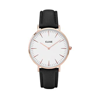 ef97566ad CLUSE La Bohème Rose Gold White Black CL18008 Women's Watch 38mm Leather  Strap Minimalistic Design Casual