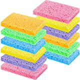 Chuangdi Kitchen Cleaning Scrubbing Sponge, Cellulose Dish Sponge for Removing Stubborn Stain, Oil, Non-Scratch on Windows Non-Stick Pan, Assorted Colors, Size 12 x 7.6 x 1.5 cm (24 Pieces)