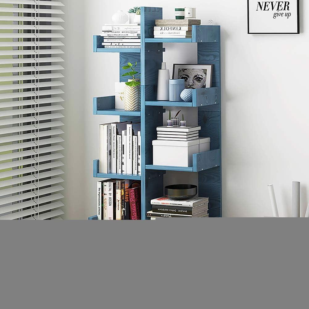 XM/&LZ 7-mensola Libreria Ad Albero,Multiuso Scaffale di Stoccaggio Risparmio Spazio Legno Visualizza Scaffale Vintage per Libri Foto Opera dArte Pianta di Pentola Alzarsi Blu A