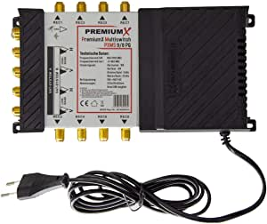 PremiumX PXMS 9/8 PQ multiswitch Quad Compatible Multiswitch 2 Sat para 8 suscriptores Distribuidor satelital HDTV Digital FullHD 4K UHD 8K