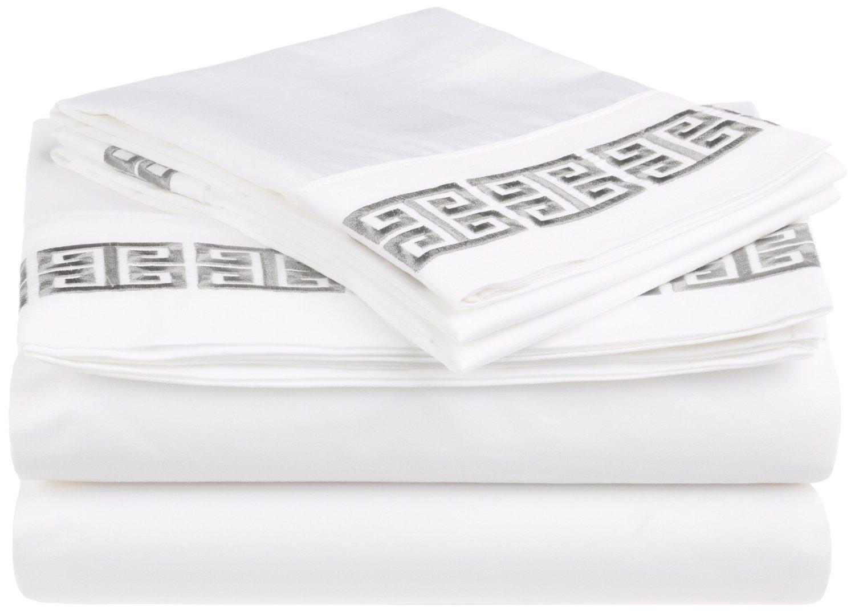 White// Light Blue Superior XL-KENDELL-SH-LB 3-Piece Twin XL Kendell Bed Sheet Set 100/% Cotton Greek Key Embroidery