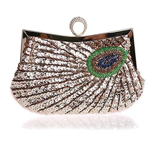 Sra. embrague/modelo del pavo real/bolso de mano del anillo de diamante/bolso de noche de lentejuelas/paquete de banquete/bolsos de novia-D A