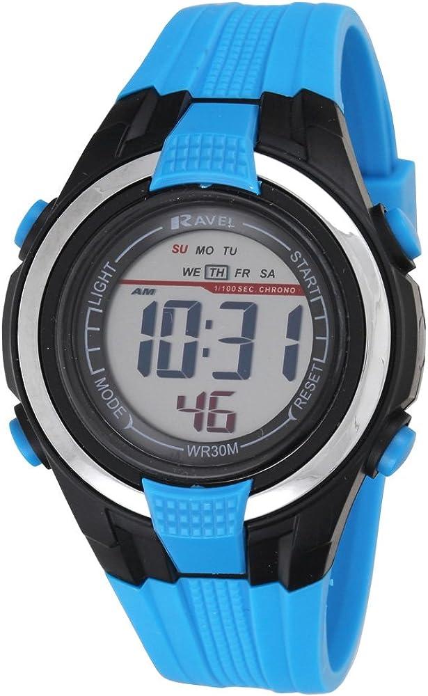 Digital con Pantalla LCD de Ravel Deportivos Resistentes al Agua Boy's Reloj Digital con Esfera Pantalla Digital y Azul Correa de plástico RDB-16
