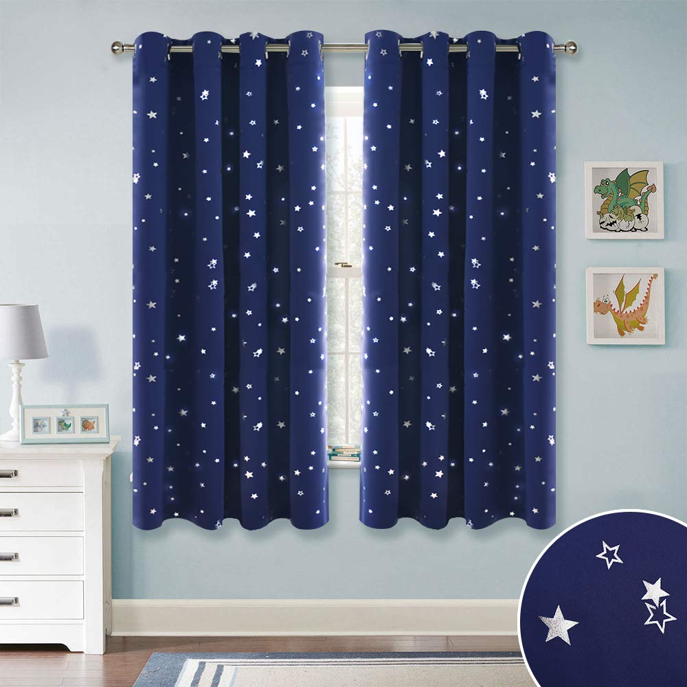RYB HOME Kids Blackout Curtains - Grommet Curtains for Children's Bedroom Star Curtains Privacy Window Treatment Drapes for Baby Nursery Bedroom, Navy Blue, 52 x 63 per Panel, Set of 2 by RYB HOME