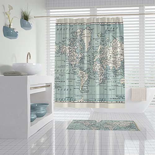 World Map Shower Curtain in Blue and Cream