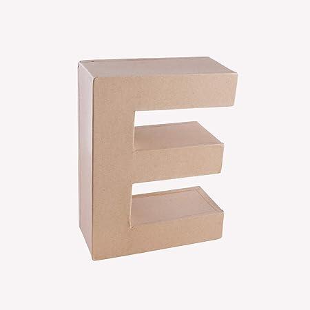 MP - Letra Decorativa en 3D Grande de Cartón - Letra E - Color Kraft, 16,5 cm: Amazon.es: Oficina y papelería