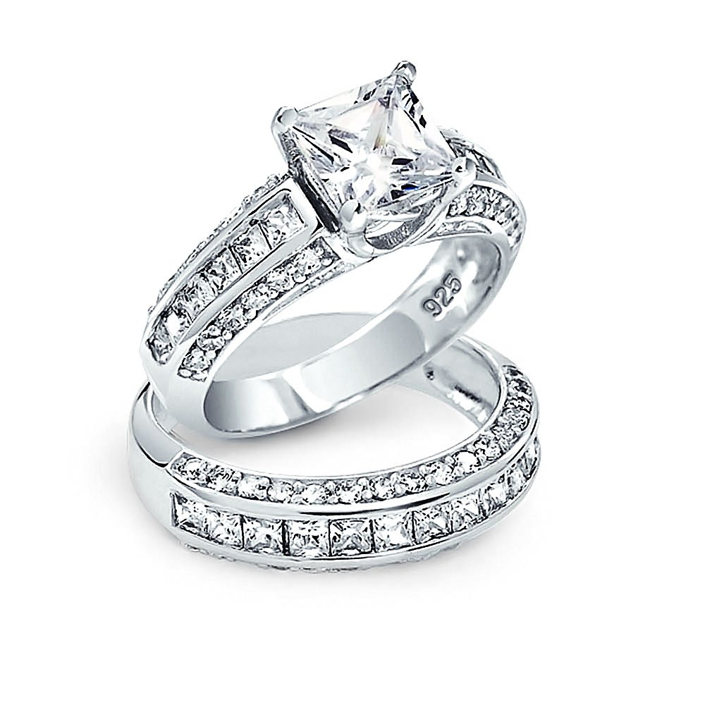 Bling Jewelry Princess Cut CZ 3 Sided Engagement Wedding Ring Set Silver DT-LR0235