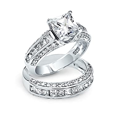 bling jewelry princess cut cz 3 sided engagement wedding ring set silver - Princess Cut Wedding Ring Set