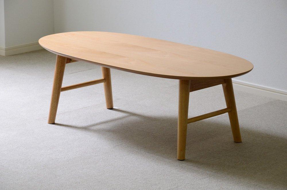 北欧調のおしゃれでシンプルな木製センターテーブル ビーチ 丸型脚折れ(ローテーブルリビングテーブル) B073WWCSMM 丸型脚折れ|ビーチ(ナチュラル) ビーチ(ナチュラル) 丸型脚折れ