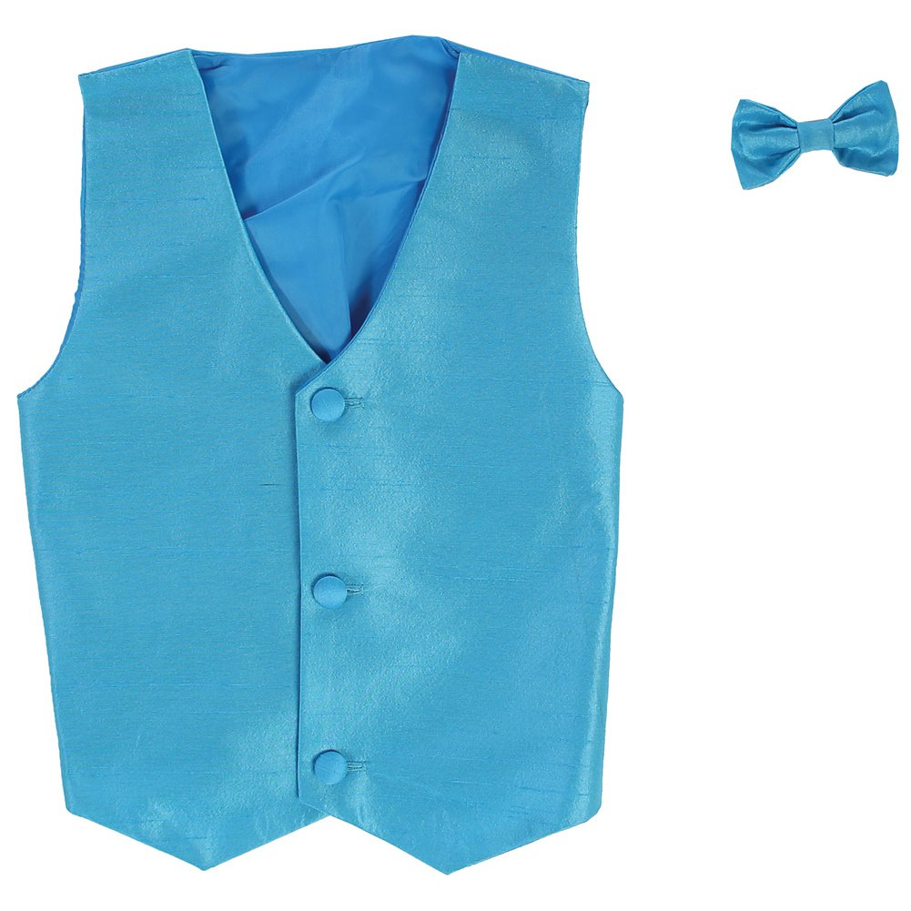 Lito Little Boys Aqua Poly Silk Vest Bowtie Special Occasion Set 2T-7