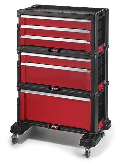Keter 17181010 - Carro de herramientas con 6 cajones y ruedas