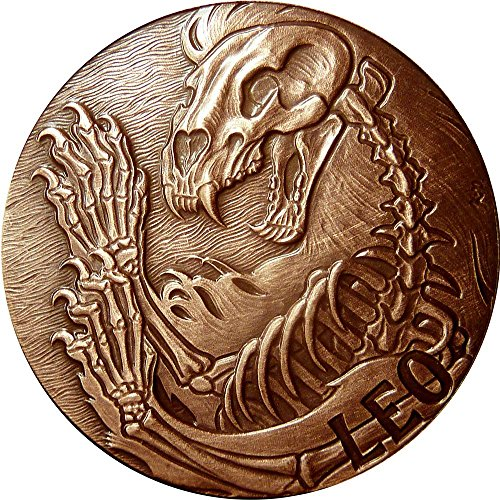 2015 United States Skullcoins LEO Memento Mori Zodiac Skull Horoscope Copper Coin 2015 Antique Finish