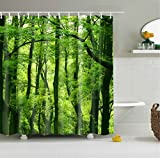 72×72 inch Green Forest Shower Curtain,3D Digital Print Mildew Resistant and Waterproof Bathroom Curtain with 12 Steel Hooks