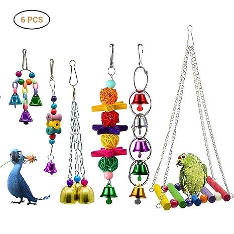 Comtervi 6pcs pájaro Juguete Loros Juguete Hängende Bell Mascotas ...