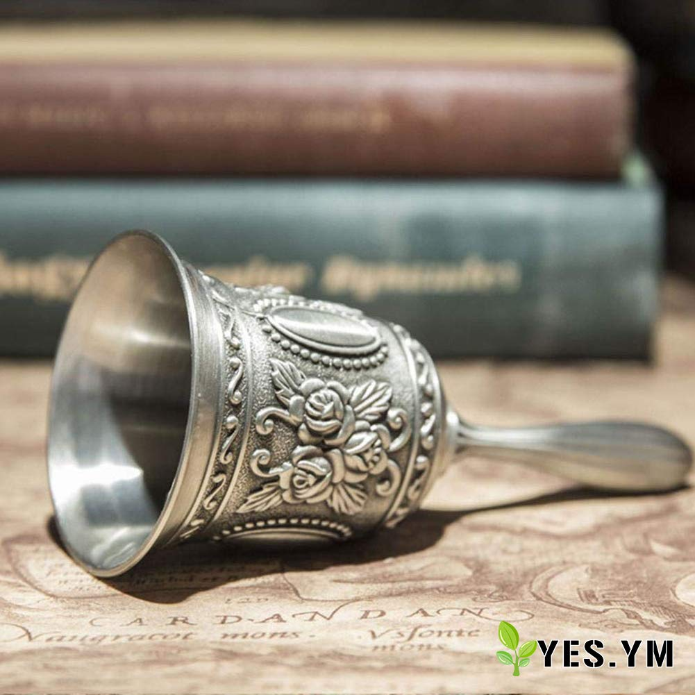 YES.YM Hand Call Bell Multi-Purpose Hand Bell for Wedding Decoration,Alarm,School Church Classroom,Bar (Silver) by YES.YM (Image #2)