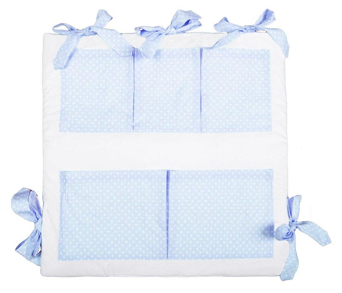 100/% REINE BAUMWOLE Made in EU Vizaro /ÖkoTex Blau Und Wei/ß SICHERES PRODUKT K GEPOLSTERTER BETTTASCHE//Utensilo f/ür die Kinderwiege
