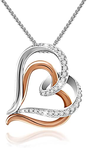 14K White Gold Necklace With Heart Shaped Multi Color Cubic Zirconia 20 Inches