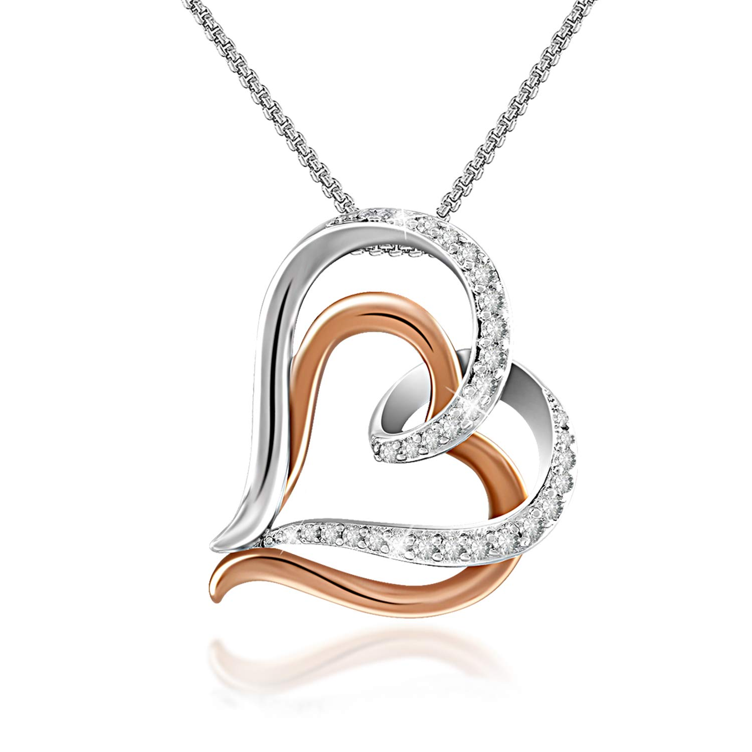 GEORGE · SMITH Double Love Heart Pendant Necklace, 14K Rose Gold Heart Shaped Necklace with 5A Cubic Zirconia Fashion Jewelry Gifts for Women by GEORGE · SMITH